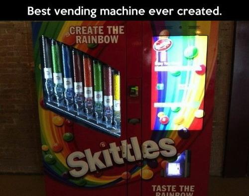 skittles, vending machine, candy, win, create the rainbow