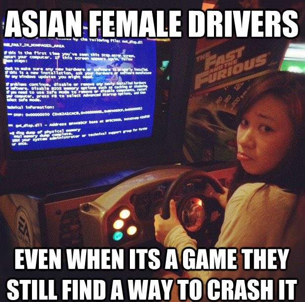 asian female drivers, sexist joke, crash