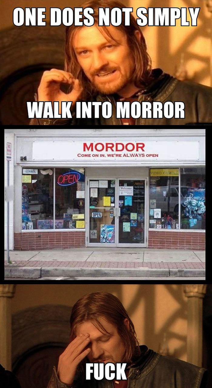mordor, one does not simply, meme, store name