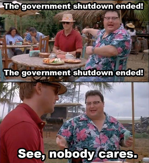 government shutdown, nobody cares, jurassic park, newman, meme