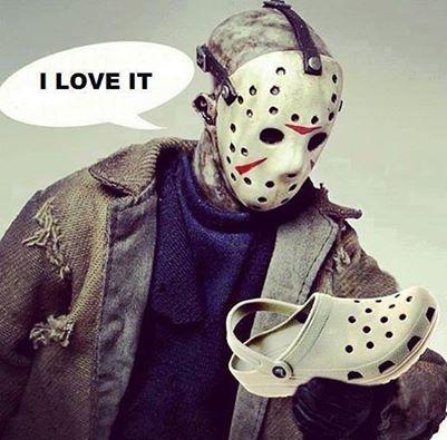 michael meyers, hockey mask, crocs, i love it
