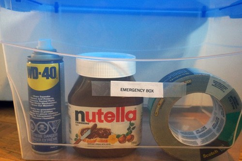 nutella, wd40, duct tape, emergency box