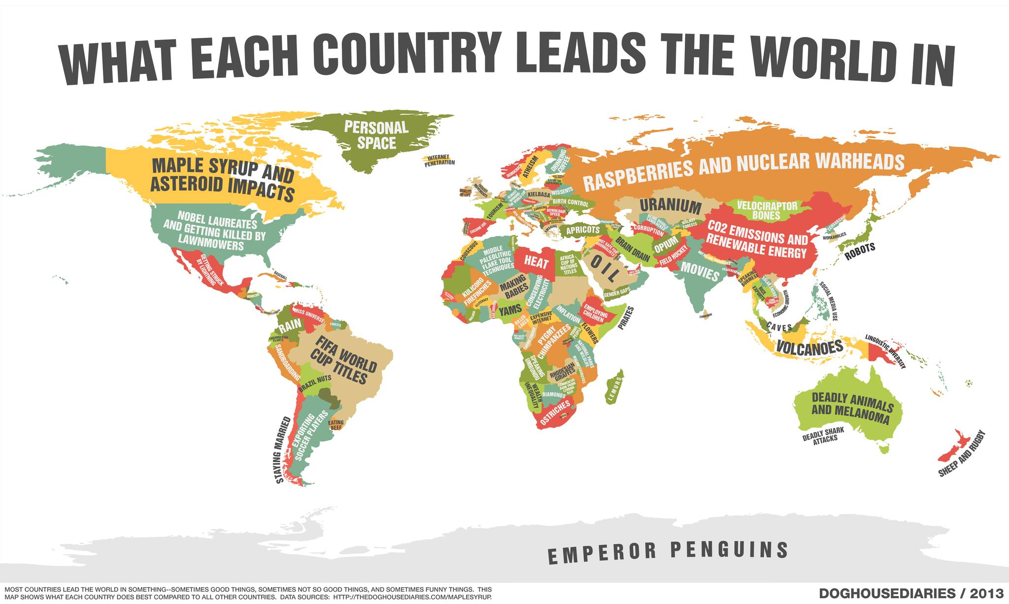 what each country leafs the world in, map