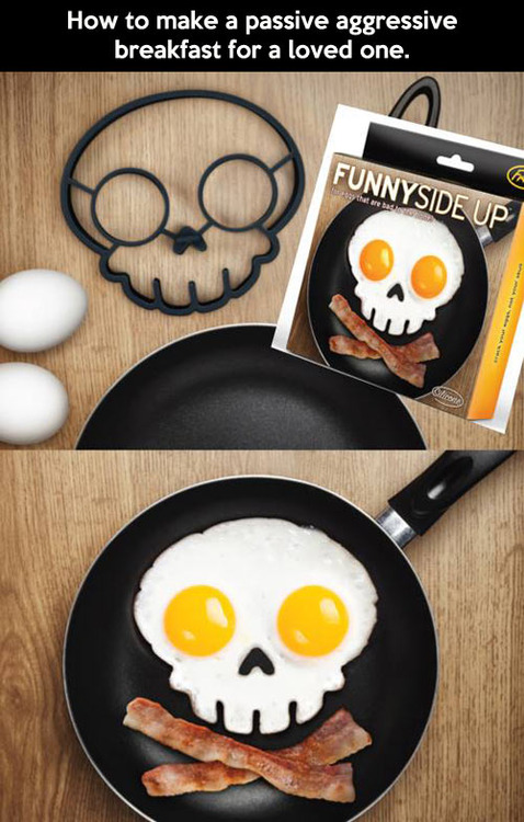 egg mould, skull, funny side up, product, eggs and bacon, breakfast