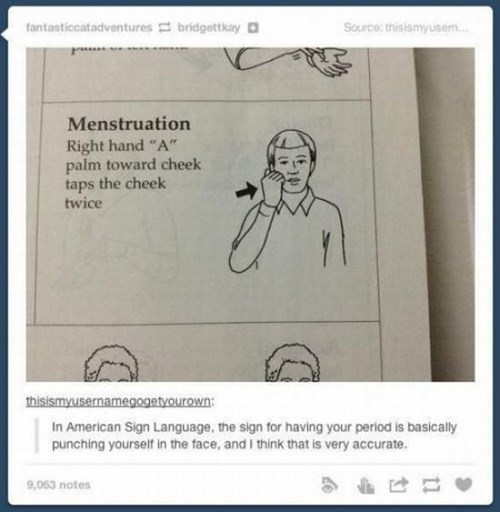 american sign language, menstruation, punching self in face