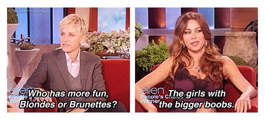 ellen, blondes, brunettes, bigger boobs, fun, lol