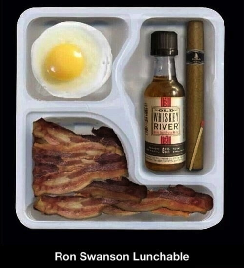 ron swanson lunchable, egg, bacon, cigar, whiskey
