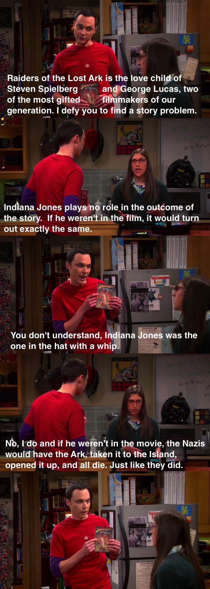 the big bang theory, indiana jones, stephen spielberg, george lucas