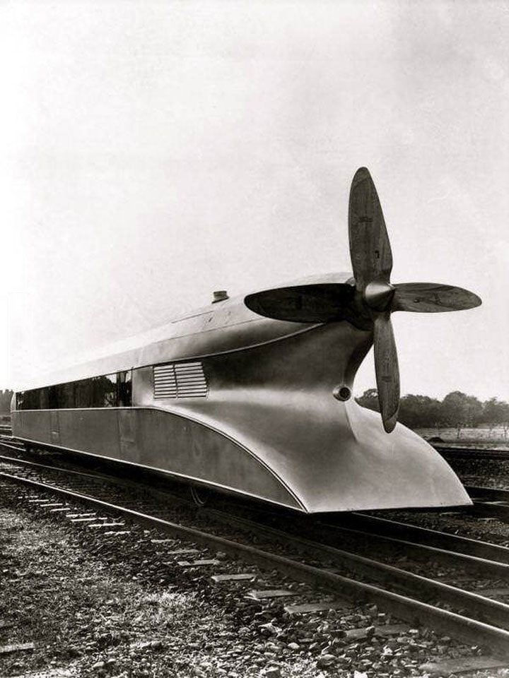 schienenzeppelin - a german high speed train from the 1930s, top speed was 210 kmh (130 mph)