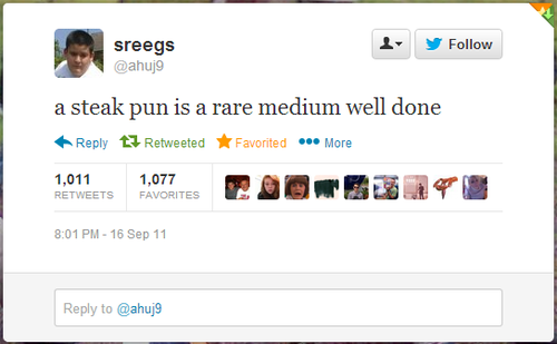 twitter, joke, pun, wordplay, steak pun, rare medium well done