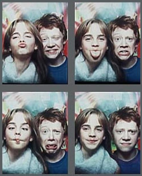 ron, hermione, emma watson, photo booth, funny faces