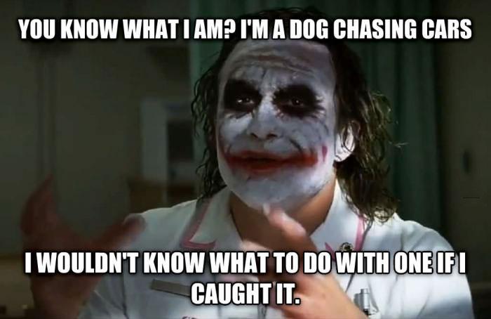 Resultado de imagem para joker dog chasing cars