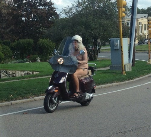 naked motorcycle rider, old, wtf
