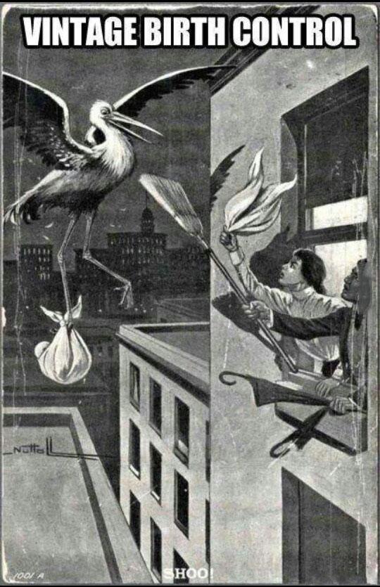 vintage birth control, stork, broom stick, lol