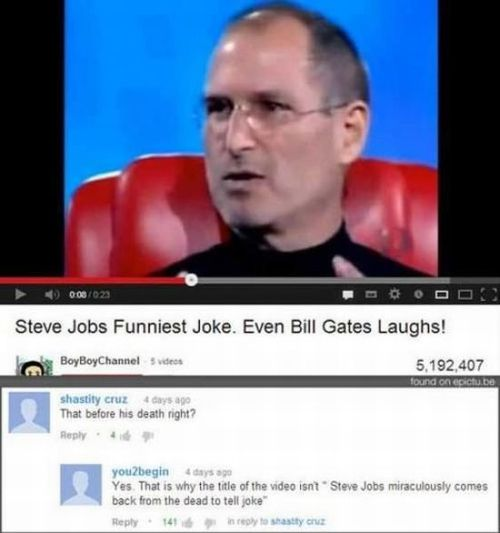 steve jobs, youtube, stupid, comments
