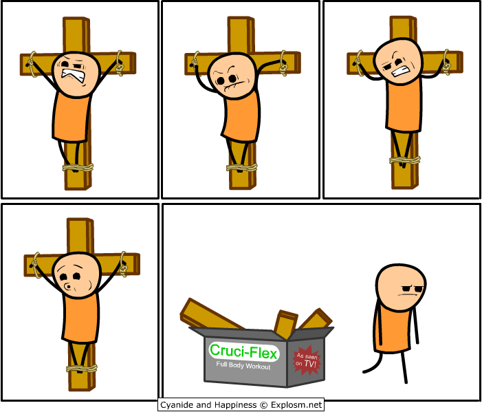 cruci-flex, crucifix, religion humor, as seen on tv