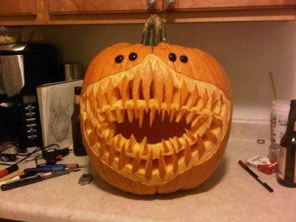 pumpkin carving, wtf, creepy, two rows of teeth