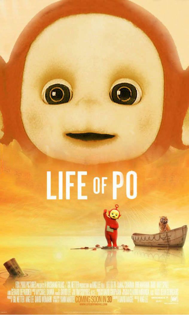 teletubbies, life of po, parody movie poster