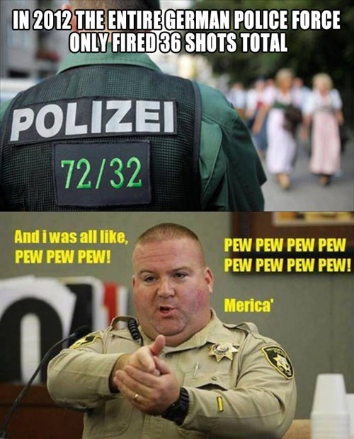 in 2012 german police force fired 36 shots total, 'murica