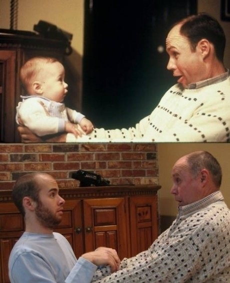 then and now, father, child, son