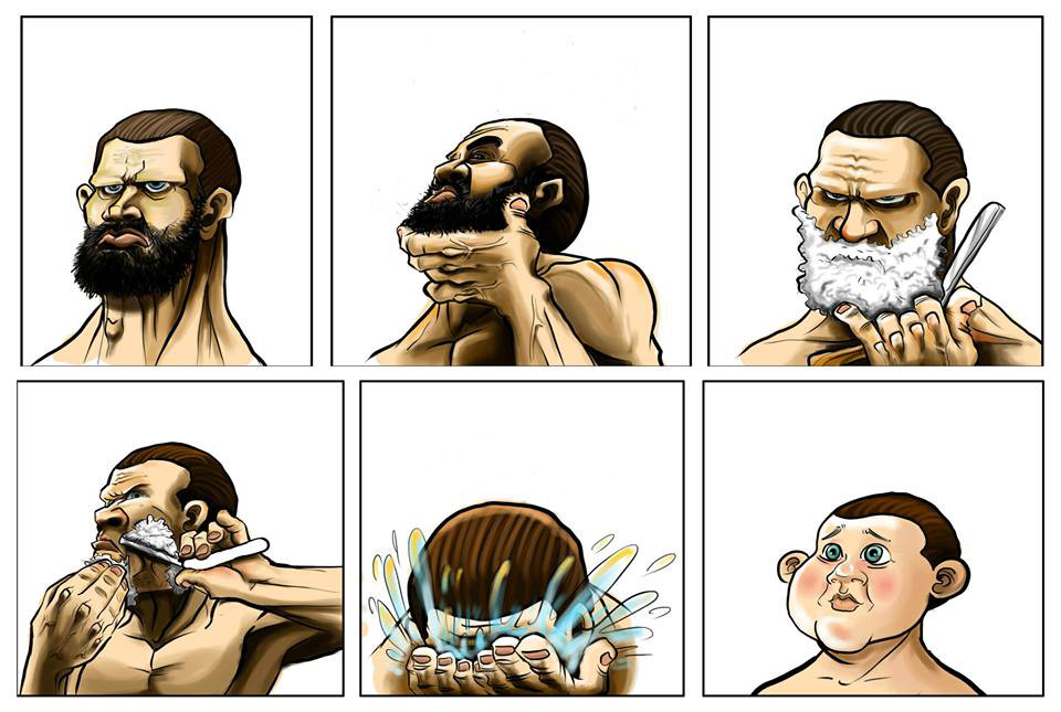 shaving your beard off, comic