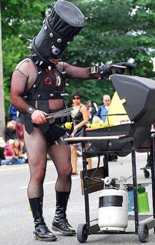 wtf, grilling, bondage costume