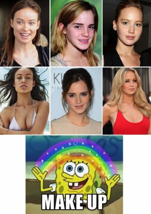 make up, spongebob squarepants, meme, emma watson, jennifer lawrence, before, after