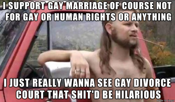 redneck meme, i support gay marriage, gay divorce court