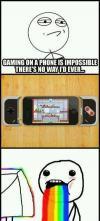 nintendo, gaming on a phone, vomiting rainbows, meme