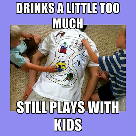 good guy dad, meme, drinks a little too much, still plays with kids