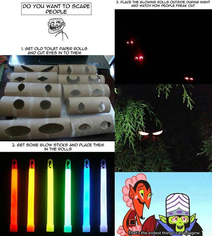 scary eyes, idea, clever, glow sticks, toilet paper roll, cardboard