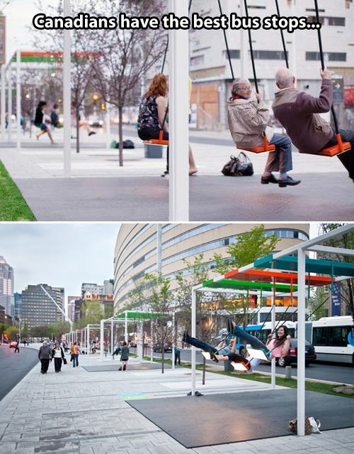 montreal, canada, bus stops, swings, win