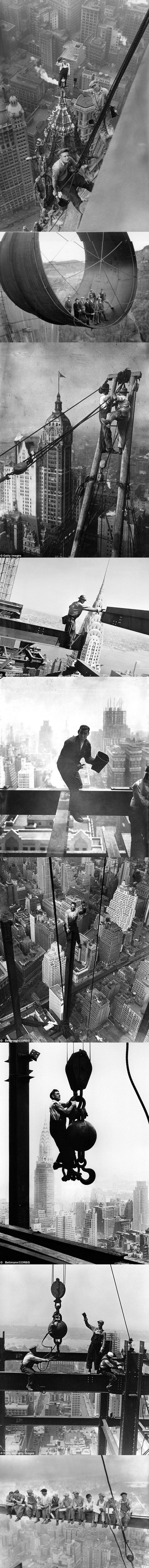 bad ass building builders in new york. old black and white photography