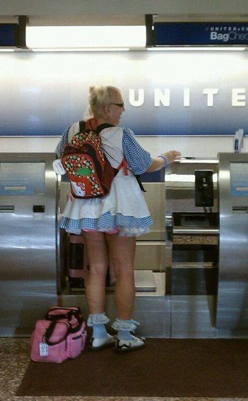 poorly dressed, wtf, skirt, old man, airport terminal