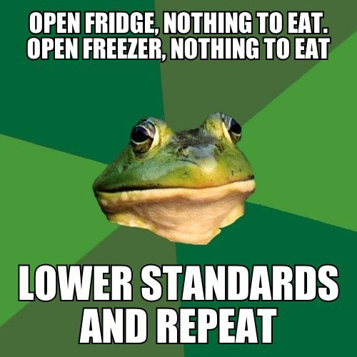 open fridge, nothing to eat, open freezer, nothing to eat, lower standards, repeat, meme