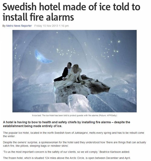 ice hotel made to install fire alarms