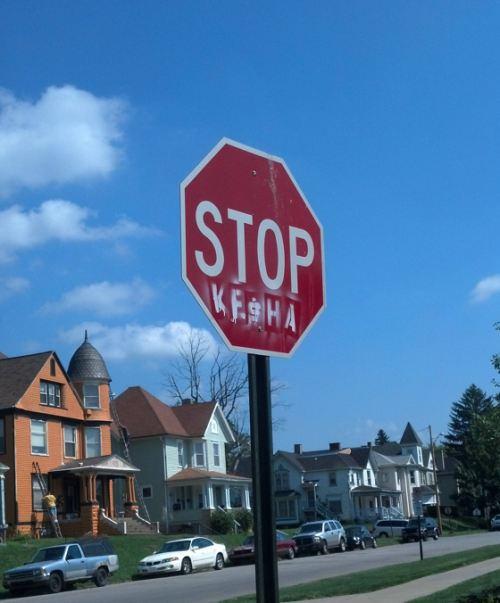 stop ke$ha, sign, graffiti
