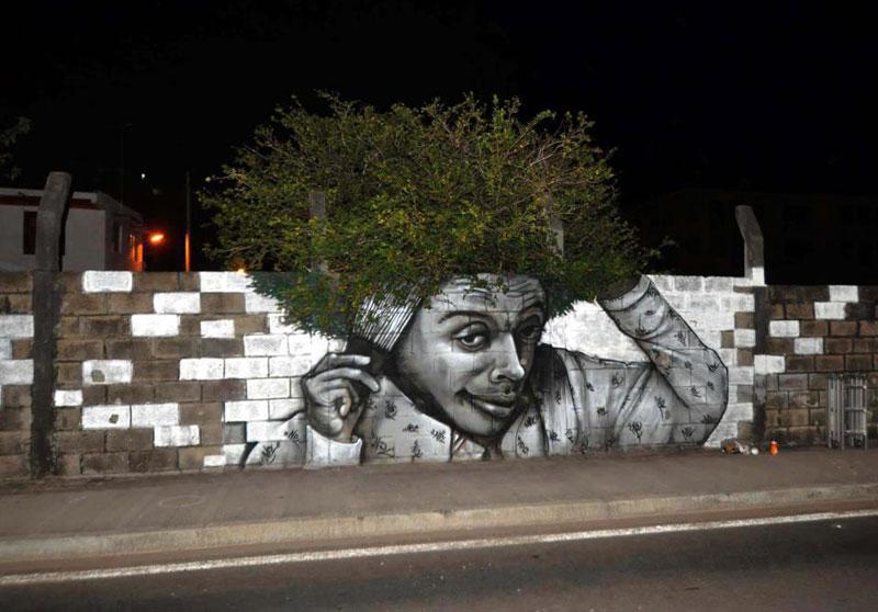 street art, graffiti, tree, afro, cool