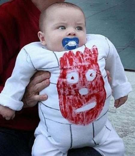 baby in wilson costume, volleyball