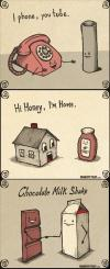 wordplay, illustration, iphone, youtube, hi honey, i'm home, chocolate milk shake