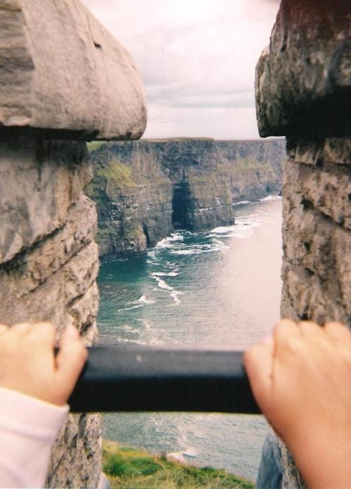 optical illusion, perspective, view, picture, cliffs, water