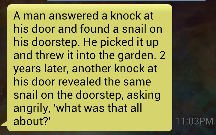 grandpa joke, text message, snail