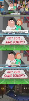 anal tonight, family guy, lois and peter griffin, canal