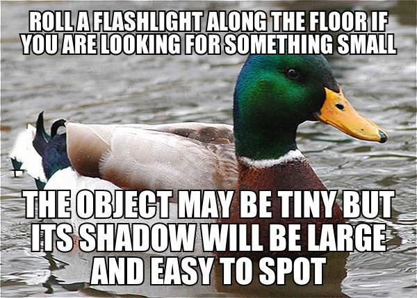 actual advice mallard, roll a flashlight along the floor if you are looking for something small, the shadow will be large and easy to spot