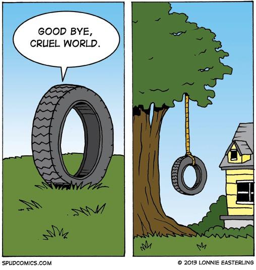 dark comic, goodbye cruel world, tire swing, hang