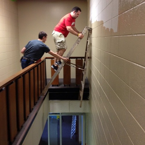 ladder, stairs, dangerous, stupid, brave