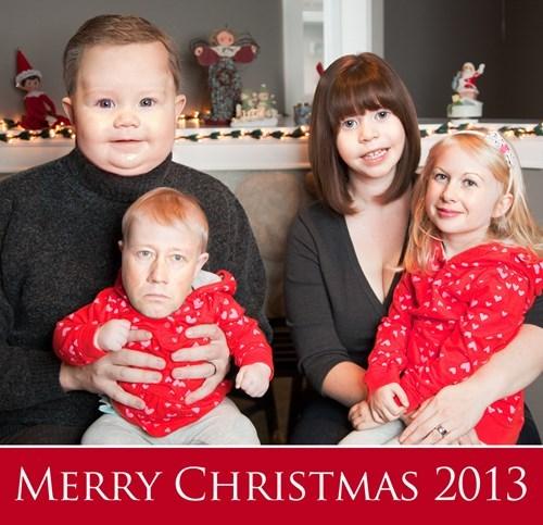 face swap, photoshop, christmas card family portrait, wtf