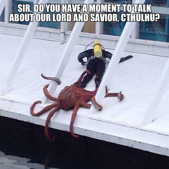 sir do you have a moment to talk about our lord and savior cthulhu?, scuba diver, squid