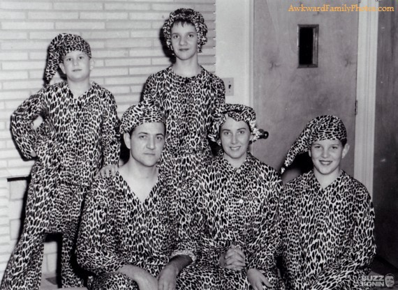 awkward family photos, matching leopard print pyjamas, poorly dressed
