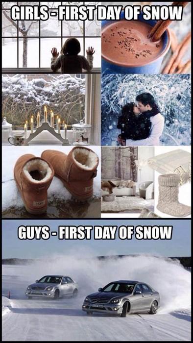 men versus women, first day of snow, guys, girls